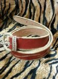 KILLER 50s ROCKABILLY LEATHER BELT- SIZE 105 -AMAZING DESIGN - TOP QUALITY - VLV - RED